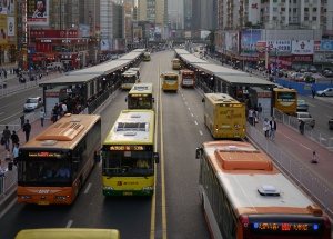 The Guangzhou bus rapid transit system in China, one of the largest integrated bus rapid transit systems in the world