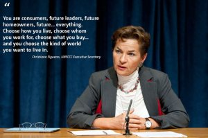 An inspirational message from UNFCCC Executive Secretary Christiana Figueres to young people at an Earth Day event in 2011 on how they have the power to create a better future